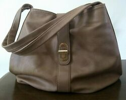 Olivia + Joy Tan Large Shoulder Bag Purse with Outside Zip Pockets Expandable