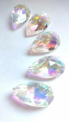 5 AB Iridescent 38mm Teardrop Chandelier Crystals Asfour Lead Crystal Pendants $13.00