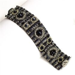 Czech Glass 9 Circle Beaded Shades of TAUPE SILVER GREY BLACK Cuff Bangle $24.95