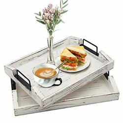 2 Pack Wood Serving Tray Ottoman Decorative Trays w Metal Handles for Breakfast