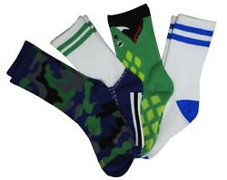 K. Bell Boys Novelty 4 Pairs Snake Camo Shoe Lace Stripe Crew Socks Multi Green $13.99