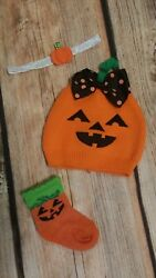 So Dorable Bow Knit Beanie Pumpkin Halloween Hat Socks Headband 6-12 Month Girl