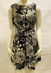 Adrianna Papell Black white Cocktail Dress With Pearl Trim Sz 4 p NWOT $48.80