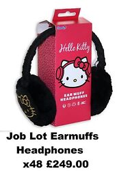 x48 Job Lot Wholesale Hello Kitty Knitted Quilted EarMuffs Kids Headphones Black