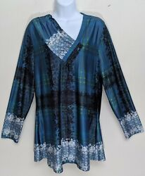Lily by Firmiana XL NWOT Tunic Floral Plaid Blue Long Sleeves Silky Smooth Top