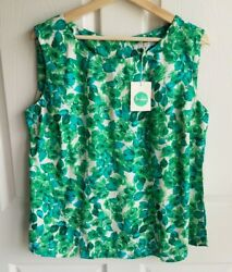 NWOT Boden Womens Green Blue Leaf Print Button Back Tank Top Size 14 Sleeveless