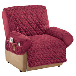 Diamond Quilted Stretch Recliner Cover with Storage $17.99
