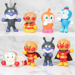8 PCS Anpanman Anime Cake Topper Action Figure Kids Gift Doll Toy