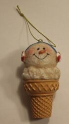Snowman Ice Cream Cone Candy Earmuffs Hanging Christmas Winter Holiday Ornament