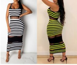 USA Women Striped Mesh Patchwork Stretch Slim Sleeveless Evening Party Dresses $21.88
