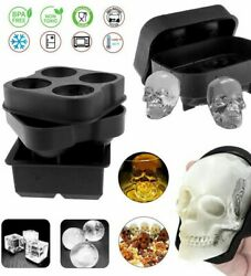 Silicone 3D Skull ICE Cube Tray Maker Round Ball Sphere Mold Whiskey Cocktail US $9.99