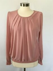 New LAKSMI Women's Size M Stretch Knit Pull Over Top Long Sleeves $7.99