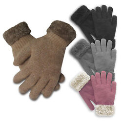 NEW Women#x27;s Thermal Insulated Super Warm Winter Gloves with Faux Fur Trim $10.99