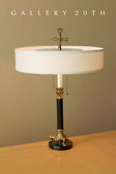 EXQUISITE! ITALIAN MID CENTURY MODERN MARBLE DESK LAMP! 50s VTG BLACK GOLD LIGHT