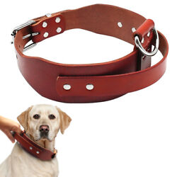 Dog Leather Training Collar with Handle Heavy Duty for Medium Large Dogs Pitbull $19.99