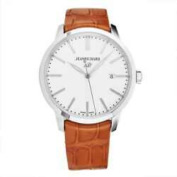 Jean Richard Men's 1681 White Dial Brown Leather Automatic Watch 6030011131-AAP
