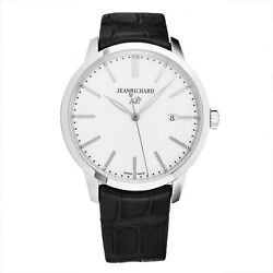 Jean Richard Men's 1681 Silver Dial Black Leather Automatic Watch 6030011131-AA6