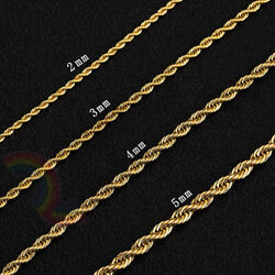 Women Men Stainless Steel Gold 2mm3mm4mm5mm Rope Necklace Chain Link C11
