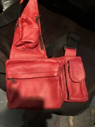 leather travel bag women One Strap Safety Bag Many Pockets W Zips New RED