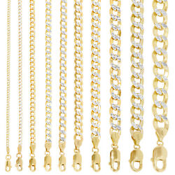 10K Yellow Gold 2mm-10.5mm Diamond Cut Pave Cuban Chain Necklace Bracelet 7