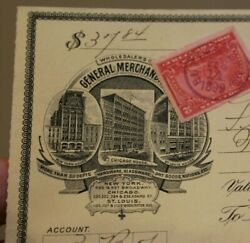 Butler Brothers Vintage Cancelled Check St. Louis MO NY ILL 2 cent stamp 1899