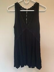 Kendall amp; Kylie Black Pleated Button Lace Tank Sleeveless Dress SZ MED