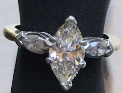 BEAUTIFUL ENGAGEMENT RING 18K & PLATINUM 1.22 CT. CENTER MARQUIS 1.52 TOTAL CTS