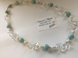 Amazing handcrafted AAA Larimar Freshwater Pearl Crystal Necklace 925 silver