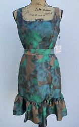 New Muse Dress Size 6 NWT Womens Sleevless Designer Clothes $179 Metallic Green