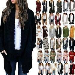Womens Long Sleeve Knitted Cardigan Loose Sweater Casual Outwear Jacket Coat Top