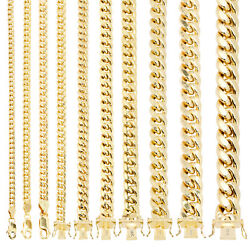 14K Yellow Gold Real 3mm-14.5mm Miami Cuban Link Chain Pendant Necklace, 16