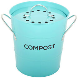 Spigo Steel Kitchen Compost Bin With Vented Charcoal Filter and Bucket Turquois $25.24