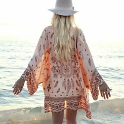 Fashion Women Bikini Cover Ups Floral Loose Kaftan Beach Dress Summer Beachwear $19.99