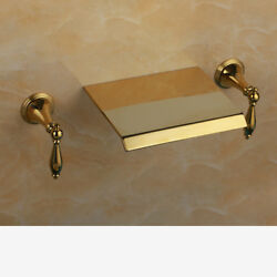 3 Holes Waterfall Widespread Faucet Bathtub Gold Tap Bathroom Mixer Faucet Sink $83.00