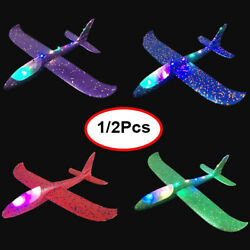 LED EPP Airplane Hand Launch Throwing Glider Aircraft Foam Plane Model Outdoor $6.19