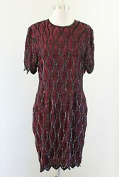 Vtg Stenay Maroon Red Black Silk Beaded Sequin Party Evening Dress Cocktail 12 $39.99