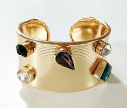 Women's Textured Crystal Cuff Bracelet Multi-Color Goldtone With Dust Bag New