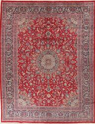 Traditional Vintage Oriental Floral Kashmar Area Rug Wool Hand Knotted 10x13 RED $795.60
