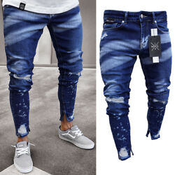 Stylish Men#x27;s Ripped Skinny Jeans Destroyed Frayed Slim Fit Denim Pants Trousers $16.99
