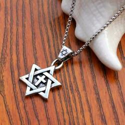 Stainless Magen David Star Cross Pendant Fashion Men's 40cm Necklace Chain A0R5