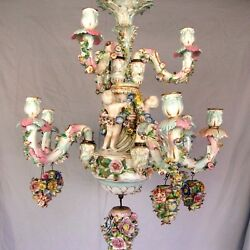 Chandelier Antique Dresden Meissen German Late 18th Early 19th Century $3950.00
