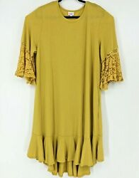 LuLaRoe Maurine solid Mustard Yellow lace ruffle sleeves dress 3x
