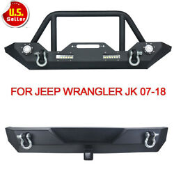 Front Rear Bumper LED Lights Winch Plate D-Rings Fits 07-18 Jeep Wrangler JK Hot