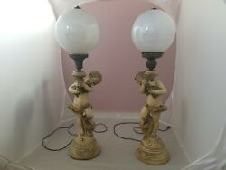 Vintage Cherub Cupid Angels Electric Lamps Boy And Girl With Glass Globe $1199.00