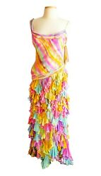 BCBG Max Azria Silk Chiffon Tiered Ruffle Maxi Dress 4 6 resort pink blue S