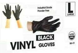 Black Gloves Nitrile Powder Free Latex Rubber Heavy Duty Durable Quality Large $27.80