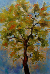 Large Art Canvas Original Acrylic Spring Tree Painting. 24in x 36in by Hunoz $350.00