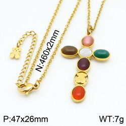 New High Quality Inlaid color Beads Bear Cross Pendant Necklace