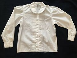 TRUE VINTAGE 50s 60s 70s MADE IN HONG KONG COTTON RUFFLE BLOUSE WOMEN'S SIZE 8