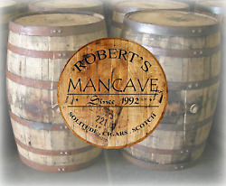 Rustic Home Decor Personalized Whiskey Barrel Lid Custom Drinking Bar Sign $69.97